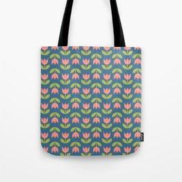 Modern coral green navy blue tulips floral illustration Tote Bag