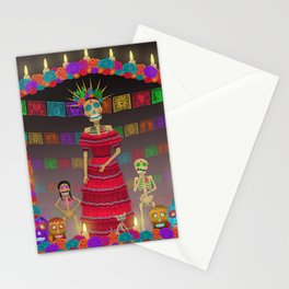 Purple Gray Ómbre Day of the Dead Stationery Cards