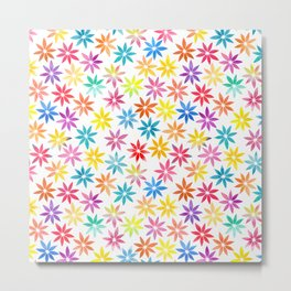 Vibrant Colors Floral Pattern Metal Print