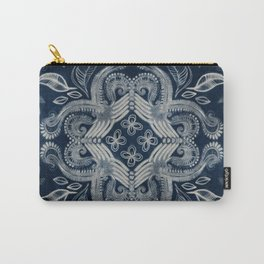Indigo blue dirty denim textured boho pattern Carry-All Pouch