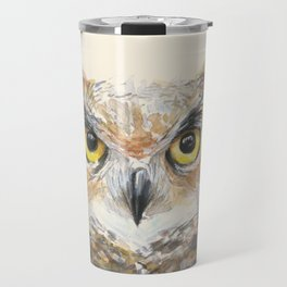 Owl Watercolor Great Horned Owl Painting Travel Mug