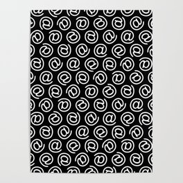 At Me Pattern (white on black version) Poster