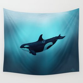 """""""Lost in Serenity"""" by Amber Marine ~ Orca / Killer Whale Art, (Copyright 2015) Wall Tapestry"""
