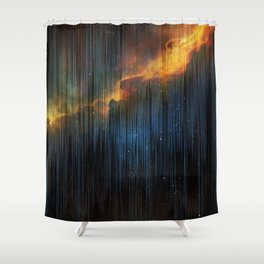 Planet Pixel Fall Down Shower Curtain
