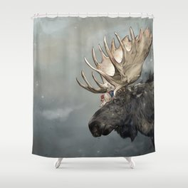 Eerik the Sami Shaman and Hirvi the Moose Shower Curtain