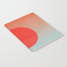 Red sun & white waves Notebook