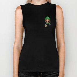 Pocket Luigi Super Mario T-Shirt Biker Tank