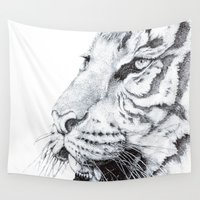 tiger Wall Tapestries featuring Tiger by Kirsten Neil