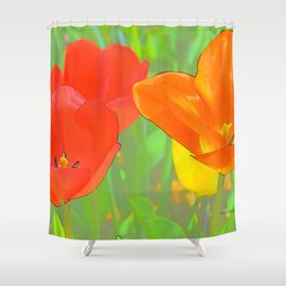 Etched Tulips 4 Shower Curtain