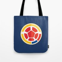 colombia Tote Bags featuring WORLDCUP IS COMING! - COLOMBIA by Andres Corredor