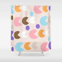 pacman Shower Curtains featuring Retro Pacman by In Sight
