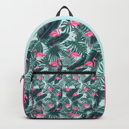 tropical pink flamingo Backpack