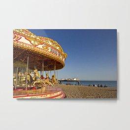 Golden Carousel at the Beach Metal Print