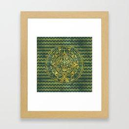 Gold  Aztec Inca Mayan Calendar Framed Art Print