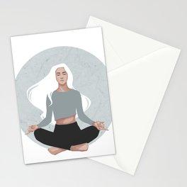 Yoga girl blue I Stationery Cards