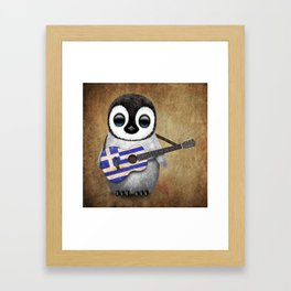 Baby Penguin Playing Greek Flag Guitar Framed Art Print