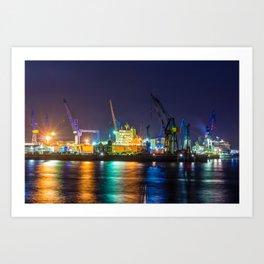 Port of Hamburg at night with colorful illumination Art Print