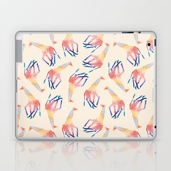 Watercolor Giraffe Pattern (Ivory) Laptop & iPad Skin