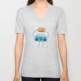 boombox holding a paper crown Unisex V-Neck