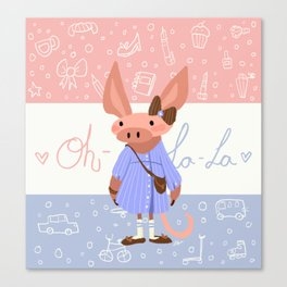 Little Missy  Aardvark in France! Canvas Print