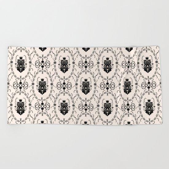 Seamless wallpaper background floral vintage Beach Towel