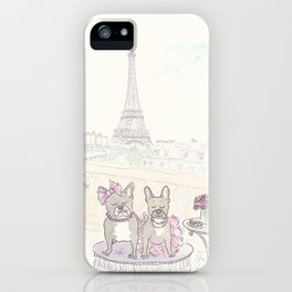 French Bulldogs and Tea in Paris with Eiffel Tower View iPhone Case