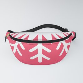 Merry Christmas card design Kawaii white snowflake funny face with eyes and red cheeks on pink Fanny Pack