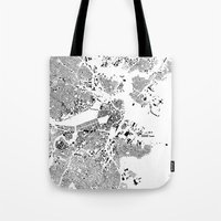 boston map Tote Bags featuring Boston Map Schwarzplan Only Buildings by City Art Posters