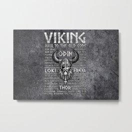 Viking Mythology Design Hail To The Old Gods Metal Print