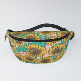Cheery Sunflowers on Pink Fanny Pack