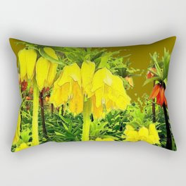 YELLOW CROWN IMPERIAL WATERCOLOR  FLOWERS Rectangular Pillow