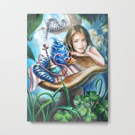 Alice and blue caterpillar Metal Print
