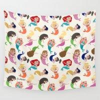 mermaids Wall Tapestries featuring Baby Mermaids by Jeca Martinez