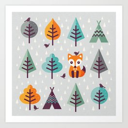 FOX IN THE FOREST Art Print