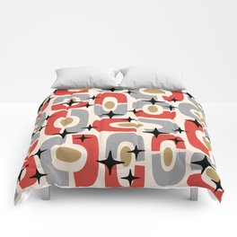 Mid Century Modern Cosmic Abstract 129 Red Gray Gold Black and Beige Comforters