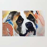 boxer Area & Throw Rugs featuring Boxer by Bowles Fine Paintings