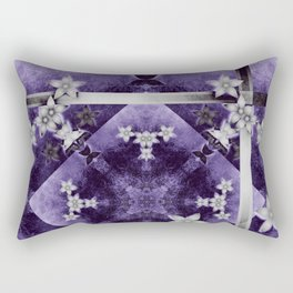 Silver flowers on purple and black textured mandala Rectangular Pillow