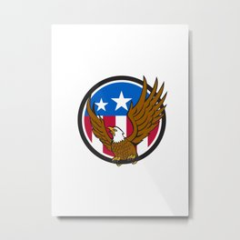 Bald Eagle Spread Wings USA Flag Circle Retro Metal Print