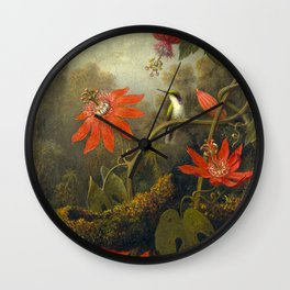 Hummingbird and Passionflowers Wall Clock