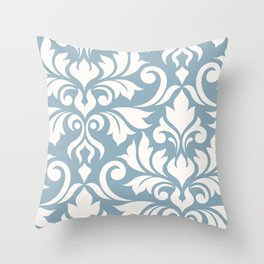 Flourish Damask Art I Cream on Blue Throw Pillow