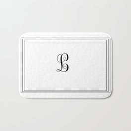 Monogram Letter L in Black and White Tripple Line Bath Mat