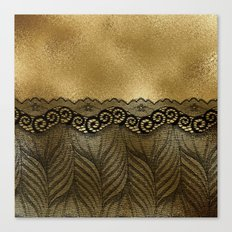 Black floral luxury lace on gold effect metal backround Canvas Print