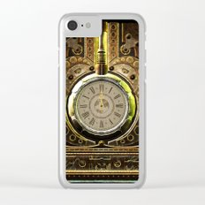 Steampunk, awesome clock and gears Clear iPhone Case