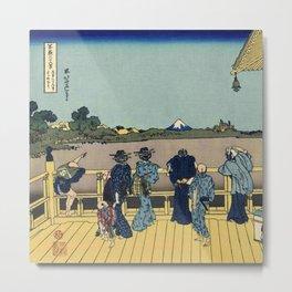 Hokusai -36 views of the Fuji 23  Sazai hall – Temple of Five Hundred Rakan Metal Print