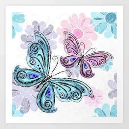 Colorful Butterflies and Flowers V10 Art Print