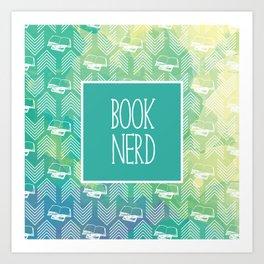 Book Nerd Green Watercolor Art Print