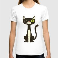 black cat T-shirts featuring Black Cat by Monster Riot