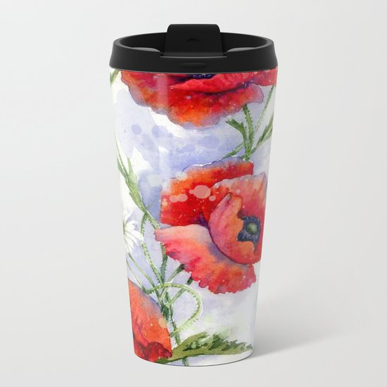 Poppies 08 Metal Travel Mug