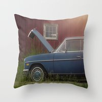 mercedes Throw Pillows featuring Old blue Mercedes by Katie Jean Images