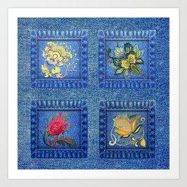 Denim Square Patches Art Print
